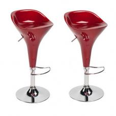 Cognac Bar Stools In Red in A Pair