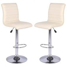 Ripple Bar Stools In Cream Faux Leather in A Pair