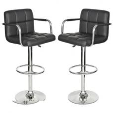 Glenn Bar Stools In Black Faux Leather in A Pair