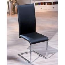 Trishell Dining Chair In Black Faux Leather With Chrome Base