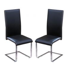 Dakota Dining Chair In Black Faux Leather in A Pair