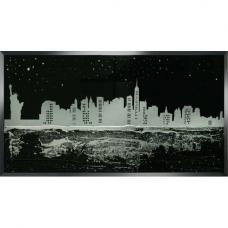 Serena Glass Wall Art In Black With New York Design On Mirror