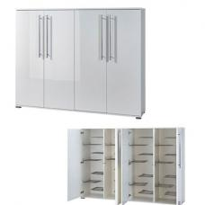 Inside Double Shoe Storage Cabinet With White Gloss Doors
