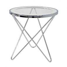 Theo 2 Lamp Table In Clear Glass Top And Chrome