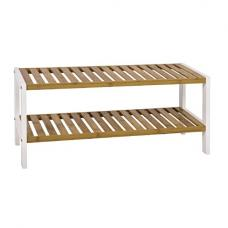 Lena Rectangular Shaped 2 Tier Shoe Rack In White Frame