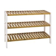 Lena Rectangular Shaped 3 Tier Shoe Rack In White Frame