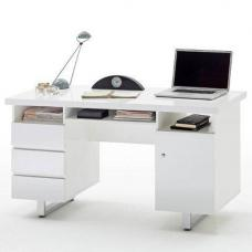 Sydney Computer Desk In High Gloss With 3 Drawers And 1 Door