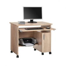Websurfer Computer Desk In Sonoma Oak With 1 Door And Wheels