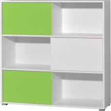 Slide Shelving Unit In White And Green With 3 Sliding Door