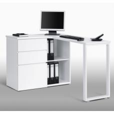 Lacy Wooden Corner Computer Desks In White With Storage