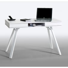 French Laptop Office Desk In White With Drawers And Metal Legs