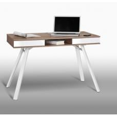 French Laptop Office Desk In White And Sanoma Oak With Drawers