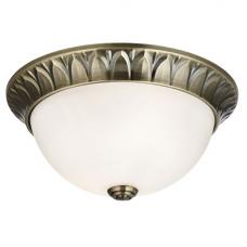 Antique Brass 2 Light Flush Fitting With Frosted Glass Inner