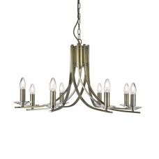 Ascona 8 Lamp Antique Brass Ceiling Light With Glass Sconces