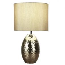 Ceramic Hammered Gold Base With Faux Silk Gold Drum Shade