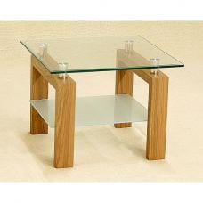 Alina Clear Glass Lamp Table With Frosted Undershelf Oak Legs