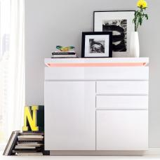 Odessa Small Sideboard 3 Drawer in High Gloss White With LED