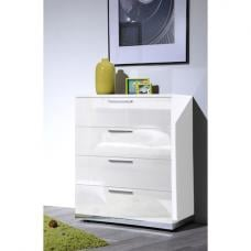 Sinatra White High Gloss Finish 4 Drawers Chest of Drawers