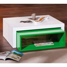 Elko Extendable Storage Coffee Table In White And Green Gloss