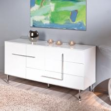 Letino II Sideboard In White High Gloss With 2 Door And 3 Drawer