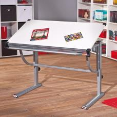 Charlie Children Computer Desk In White And Silver Grey Metal