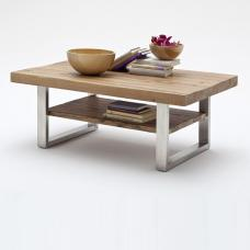 Clapton Wooden Coffee Table In Bassano Oak And Stainless Steel