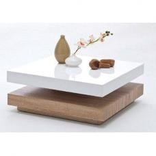 Hugo Square Coffee Table High Gloss White And Oak Base