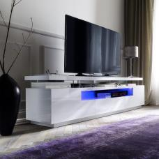 Avelin LCD TV Stand In White Gloss With 3 Drawers And LED Lights