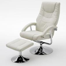 florida swivel recliner chair leather with foot stool in white