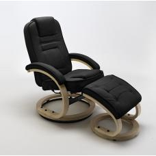 Detroit Swivel Relaxer Chair Black Leather And Footstool