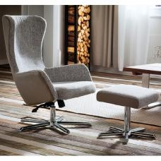 Davis Relaxing Chair With Foot Stool In Grey Beige Fabric