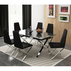 Zanti Black Glass Top Dining Table And 6 Dining Chairs