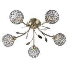Bellis II 5 Lamp Antique Brass Ceiling Light With Glass Buttons