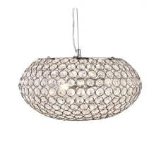 Chantilly 3 Lamp Chrome Oval Pendant With Clear Crystal Buttons