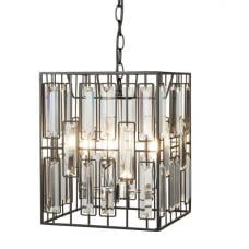 Borg Chrome Cube Pendant Glass Lamp In Matt Black Finish