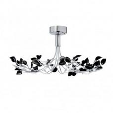 Wisteria Chrome Ceiling Flush Light With Black Glass Leaves