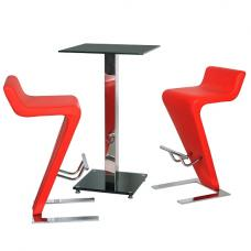 Spice Bar Table In Black Glass With 2 Farello Bar Stool In Red