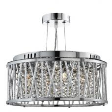 Elise Chrome Three Light Fitting With Crystal Button Drops