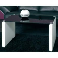 Larus Black Glass Top Coffee table with High Gloss White Legs