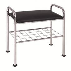 Marco Shoe Bench In Chrome With Black Faux Leather Seat