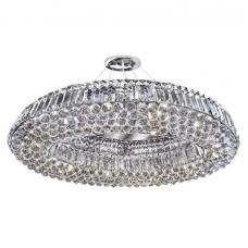 Vesuvius Chrome Oval Ten Light Chandelier With Clear Crystal Cof