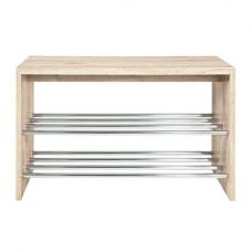 Merin Wooden Oak Shoe Bench With Chrome Finish 2 Shelf