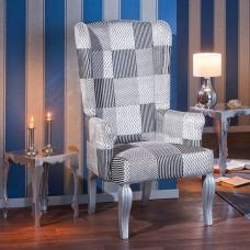 Hedon Wing Chair In Upholstered Fabric With Silver Wooden Legs