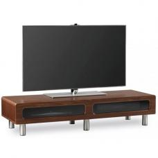 Ambri Ultra Low Board Walnut LCD TV Stand With Flip Down Door