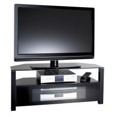 Ambri Design First Large Glass TV Stand In Black With Glass Door