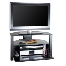 Ambri Design First Small Glass TV Stand In Black With Glass Door