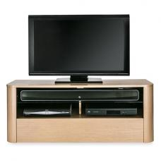 Cardiff Wooden TV Stand In Light Oak With Glass Shelf