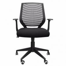 Parch Home And Office Chair In Black With Stylish Plastic Back