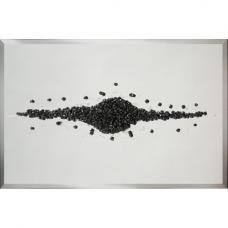 Lara Glass Wall Art Large In Silver With Black Glitter Cluster