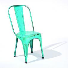Aix Stackable Metal Dining Chair In Cyan